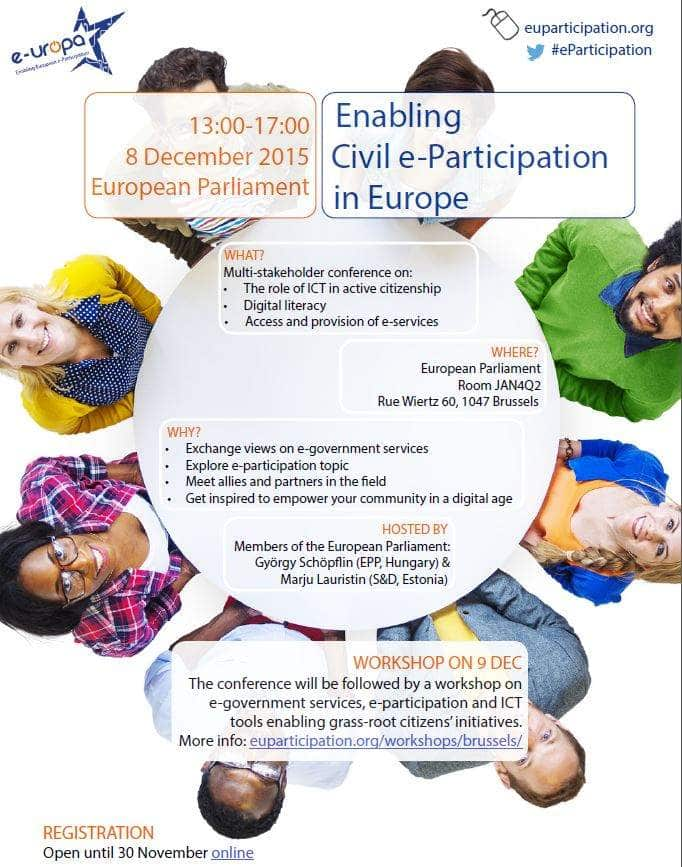 Save The Date: Enabling Civil E-Participation In Europe Conference On 8 December