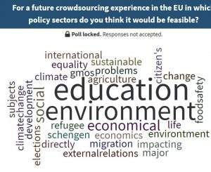 For a future crowdsourcing experience in which policy sectors would it be feasible?