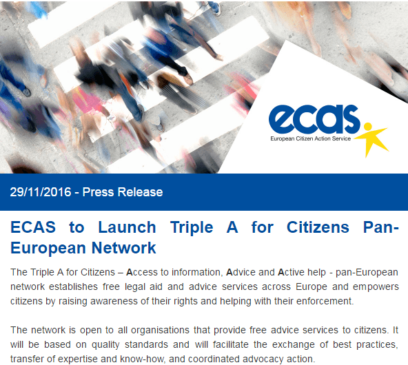 Press Release: ECAS To Launch Triple A For Citizens Pan-European Network
