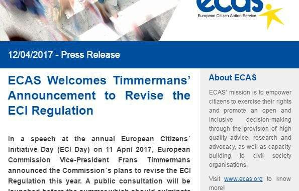 Press Release: ECAS Welcomes Timmermans' Announcement To Revise The ECI Regulation