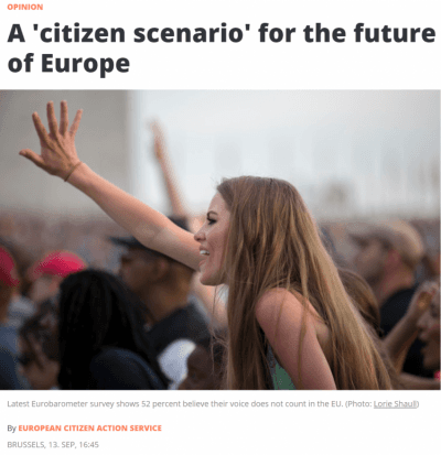 A 'Citizen Scenario' For The Future Of Europe – ECAS Opinion In EU Observer