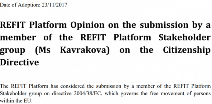 REFIT Platform Calls For New Communication On Citizenship Directive