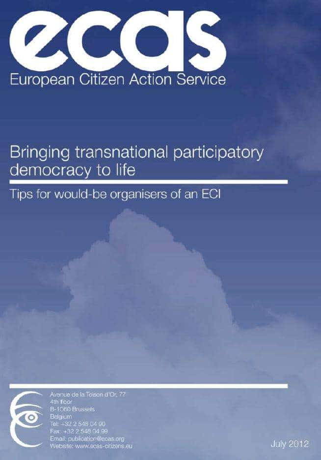 Bringing Transnational Participatory Democracy To Life: Tips For Would-be Organisers Of A European Citizens' Initiative