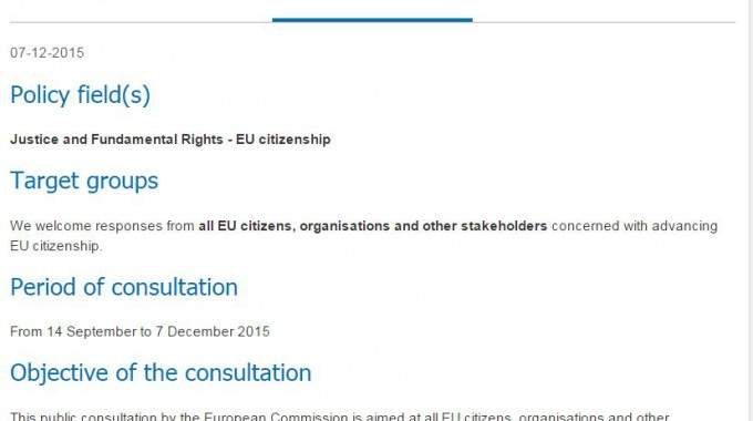 Have Your Say In The EU Citizenship Public Consultation!
