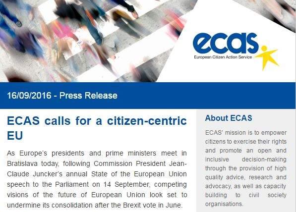 Bratislava Summit – ECAS Calls For A Citizen-Centric EU