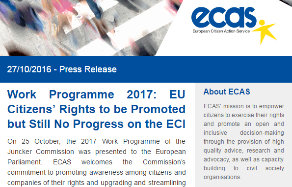 Work Programme 2017: EU Citizens' Rights To Be Promoted But Still No Progress On The ECI