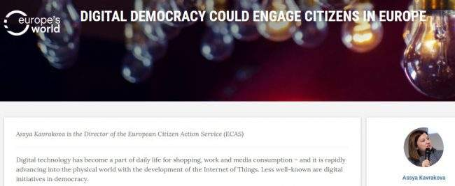 Digital Democracy Could Engage Citizens In Europe – ECAS' Director In Europe's World