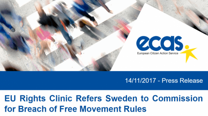Press Release: EU Rights Clinic Refers Sweden To Commission For Breach Of Free Movement Rules