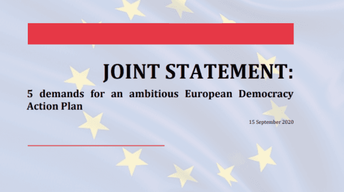 Joint CSO Statement: 5 Demands For An Ambitious European Democracy Action Plan